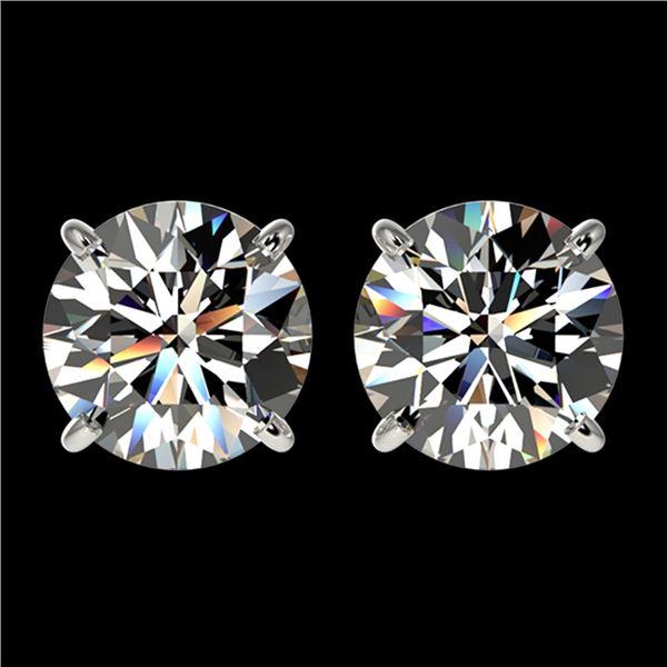 2.55 ctw Certified Quality Diamond Stud Earrings 10k White Gold - REF-303R2K