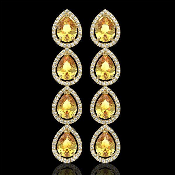 9.2 ctw Fancy Citrine & Diamond Micro Pave Halo Earrings 10k Yellow Gold - REF-172H8R