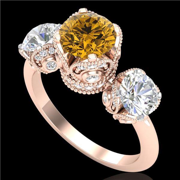 3 ctw Intense Yellow Diamond Art Deco 3 Stone Ring 18k Rose Gold - REF-470H9R