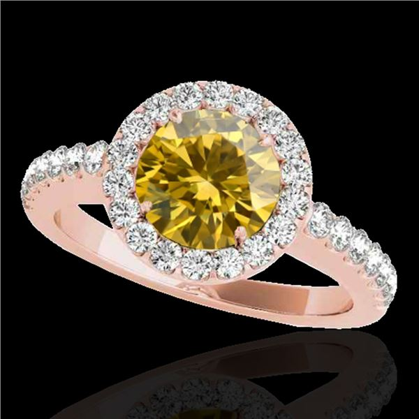 1.65 ctw Certified SI/I Fancy Intense Yellow Diamond Ring 10k Rose Gold - REF-218M2G