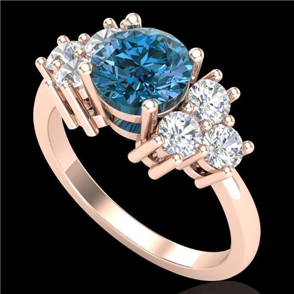 1.51 ctw Fancy Intense Blue Diamond Art Deco Ring 18k Rose Gold - REF-263G6W