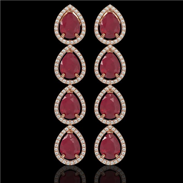 16.01 ctw Ruby & Diamond Micro Pave Halo Earrings 10k Rose Gold - REF-236X4A