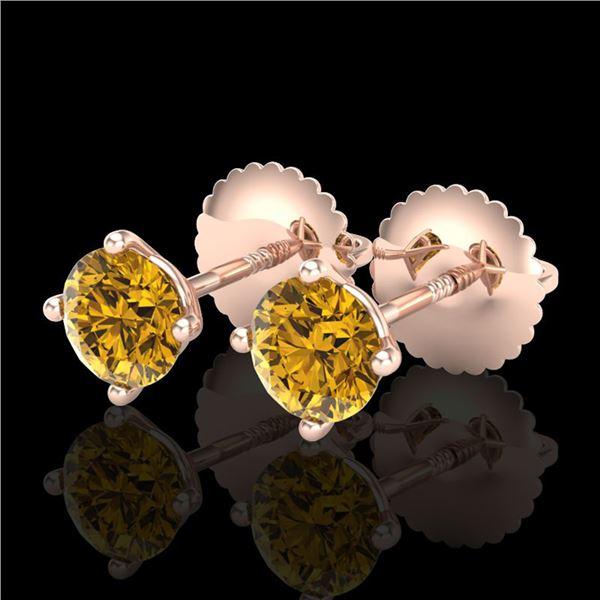 0.65 ctw Intense Fancy Yellow Diamond Art Deco Earrings 18k Rose Gold - REF-61M4G