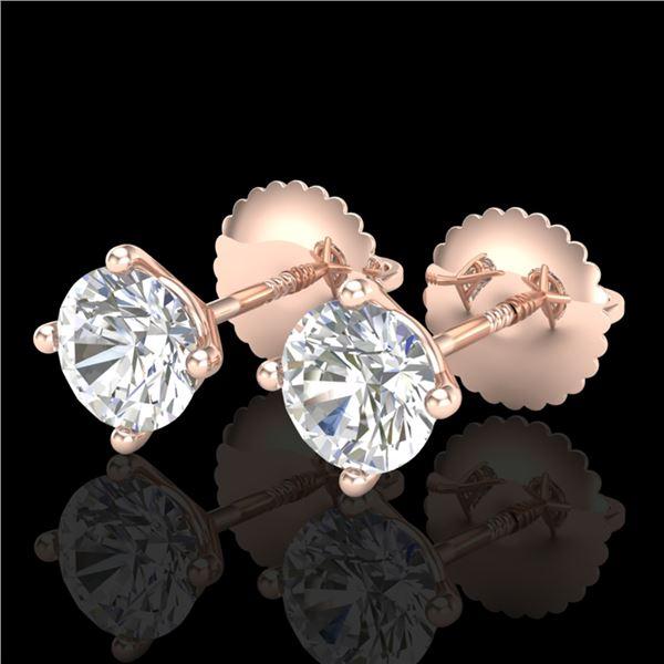 1.01 ctw VS/SI Diamond Solitaire Art Deco Stud Earrings 18k Rose Gold - REF-121N5F