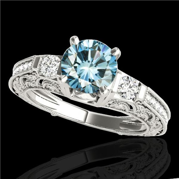 1.63 ctw SI Certified Blue Diamond Solitaire Antique Ring 10k White Gold - REF-163K6Y