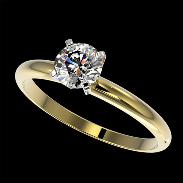 0.76 ctw Certified Quality Diamond Engagment Ring 10k Yellow Gold - REF-68M2G