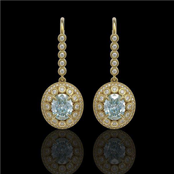 7.65 ctw Aquamarine & Diamond Victorian Earrings 14K Yellow Gold - REF-250R5K