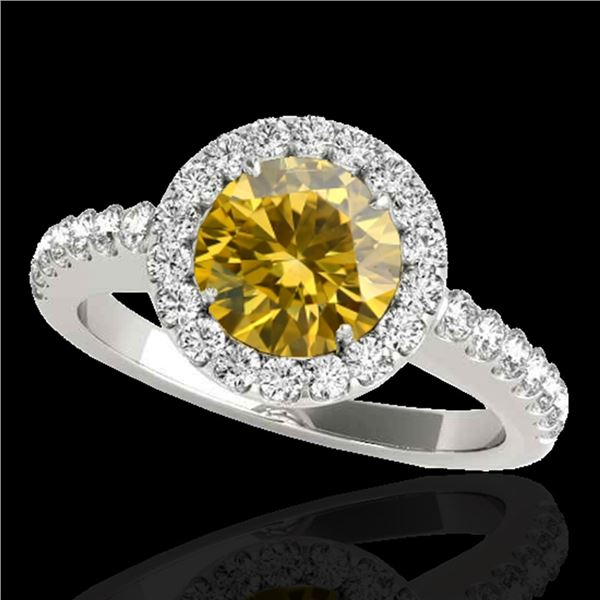 1.65 ctw Certified SI/I Fancy Intense Yellow Diamond Ring 10k White Gold - REF-218N2F