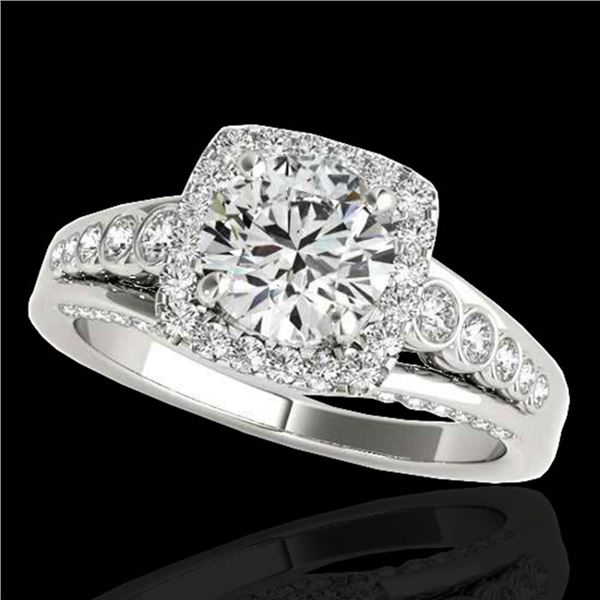 1.75 ctw Certified Diamond Solitaire Halo Ring 10k White Gold - REF-204M5G