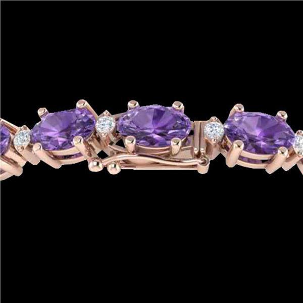25.8 ctw Amethyst & VS/SI Diamond Eternity Bracelet 10k Rose Gold - REF-122A9N