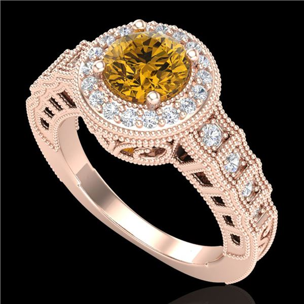 1.53 ctw Intense Fancy Yellow Diamond Art Deco Ring 18k Rose Gold - REF-327X3A