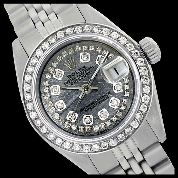 Rolex Men's Stainless Steel, QuickSet, Diamond Dial & Diamond Bezel