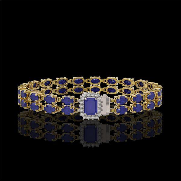 19.07 ctw Sapphire & Diamond Bracelet 14K Yellow Gold - REF-236R4K