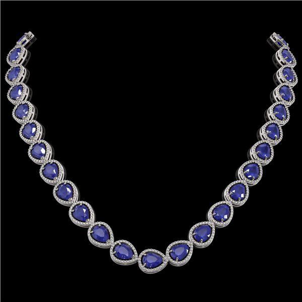 64.01 ctw Sapphire & Diamond Micro Pave Halo Necklace 10k White Gold - REF-733Y5X