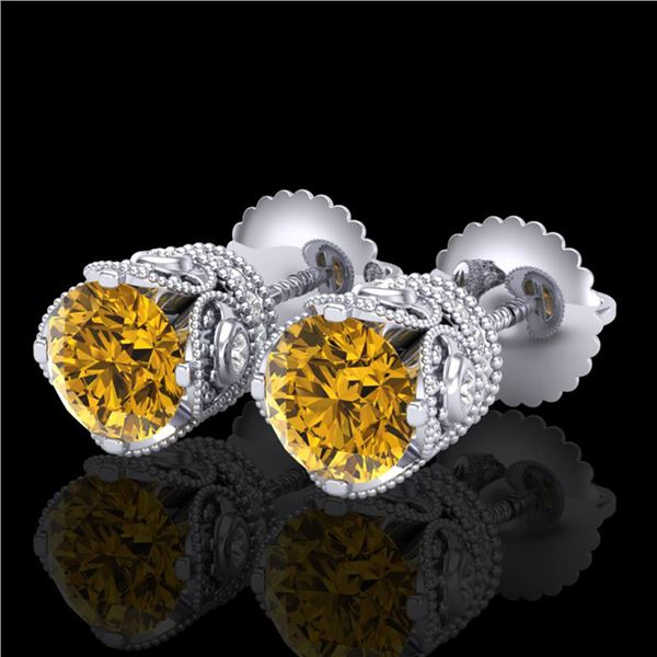 1.85 ctw Intense Fancy Yellow Diamond Art Deco Earrings 18k White Gold - REF-318X2A