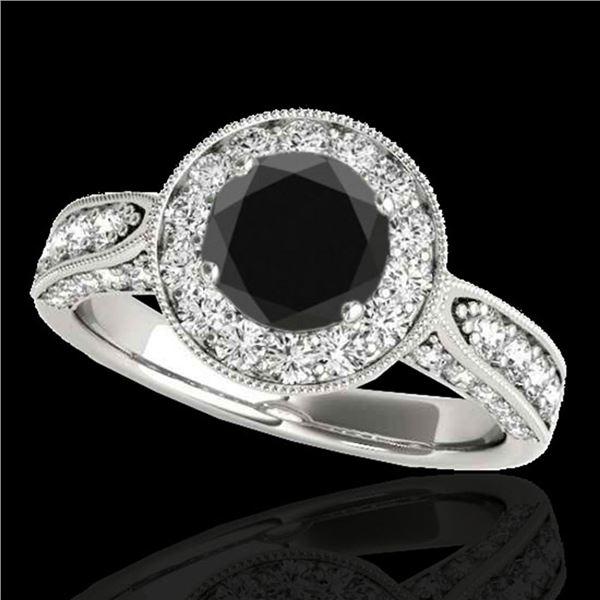 2 ctw Certified VS Black Diamond Solitaire Halo Ring 10k White Gold - REF-80W6H