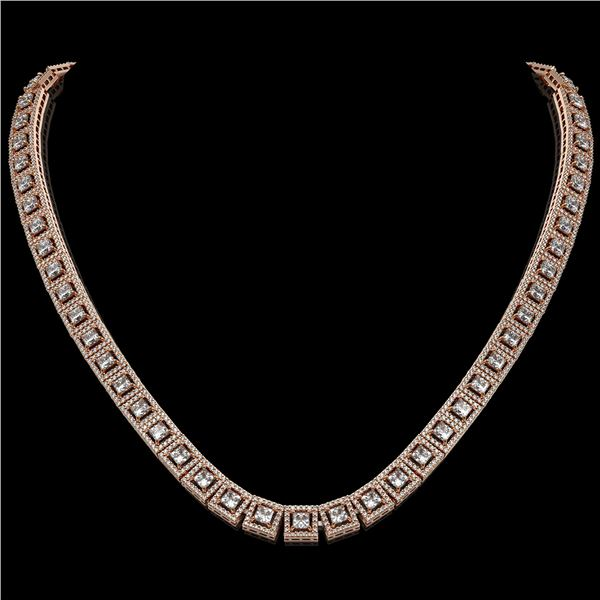 24.4 ctw Princess Cut Diamond Micro Pave Necklace 18K Rose Gold - REF-2083G2W