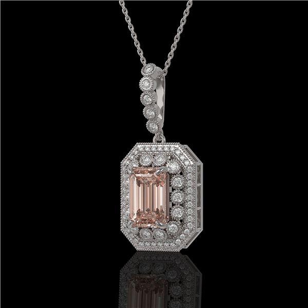 6.05 ctw Morganite & Diamond Victorian Necklace 14K White Gold - REF-272K8Y