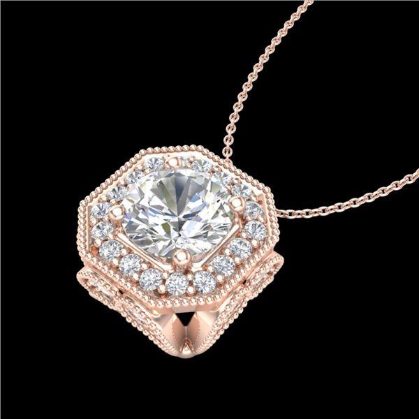 1.54 ctw VS/SI Diamond Solitaire Art Deco Necklace 18k Rose Gold - REF-409Y3X