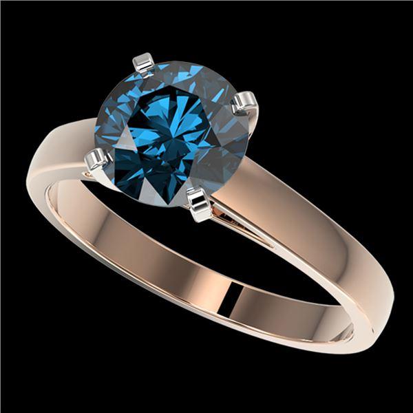 2 ctw Certified Intense Blue Diamond Engagment Ring 10k Rose Gold - REF-331A4N