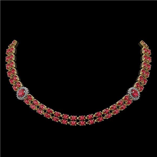 37.23 ctw Tourmaline & Diamond Necklace 14K Yellow Gold - REF-527Y3X