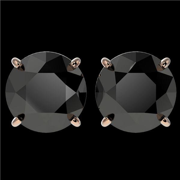 4 ctw Fancy Black Diamond Solitaire Stud Earrings 10k Rose Gold - REF-68N8F