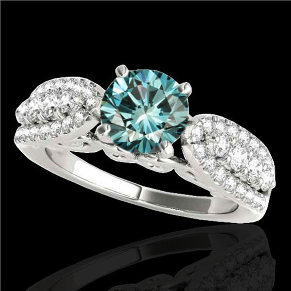 2 ctw SI Certified Fancy Blue Diamond Solitaire Ring 10k White Gold - REF-190X9A