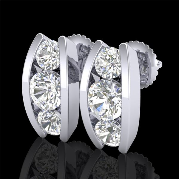 2.18 ctw VS/SI Diamond Solitaire Art Deco Stud Earrings 18k White Gold - REF-300Y2X