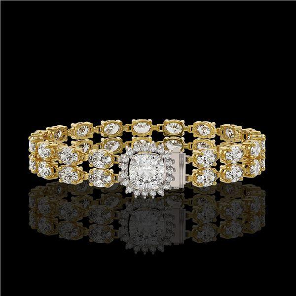 13.82 ctw Cushion Cut & Oval Diamond Bracelet 18K Yellow Gold - REF-1648Y8X