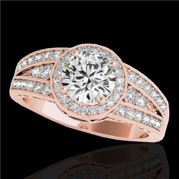 1.5 ctw Certified Diamond Solitaire Halo Ring 10k Rose Gold - REF-211G4W