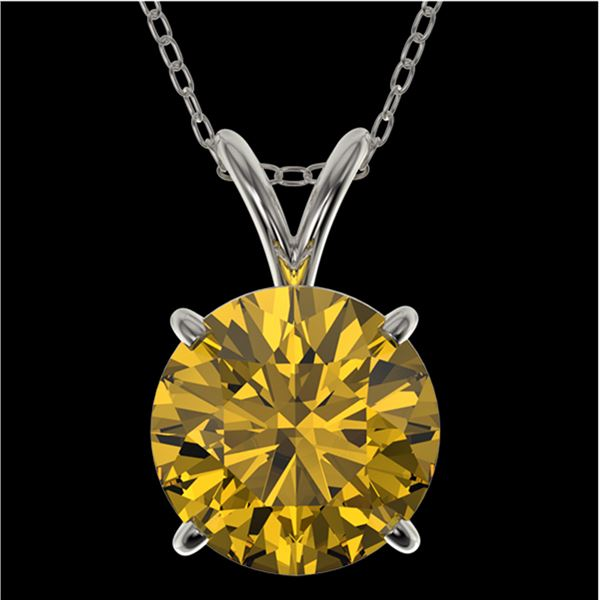 2 ctw Certified Intense Yellow Diamond Necklace 10k White Gold - REF-392H8R
