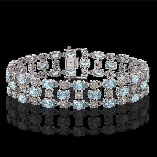 13.12 ctw Aquamarine & Diamond Row Bracelet 10K White Gold - REF-245W5H
