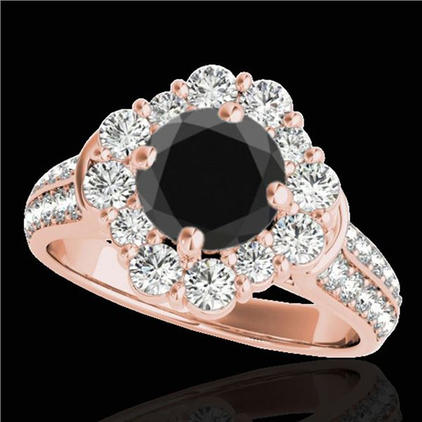 2.81 ctw Certified VS Black Diamond Solitaire Halo Ring 10k Rose Gold - REF-102Y4X