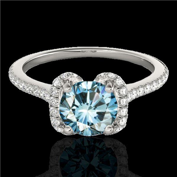 1.33 ctw SI Certified Fancy Blue Diamond Halo Ring 10k White Gold - REF-122A6N