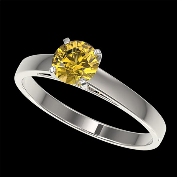 0.75 ctw Certified Intense Yellow Diamond Engagment Ring 10k White Gold - REF-82M2G