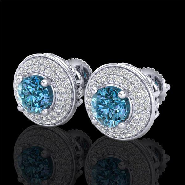 2.35 ctw Fancy Intense Blue Diamond Art Deco Earrings 18k White Gold - REF-263G6W