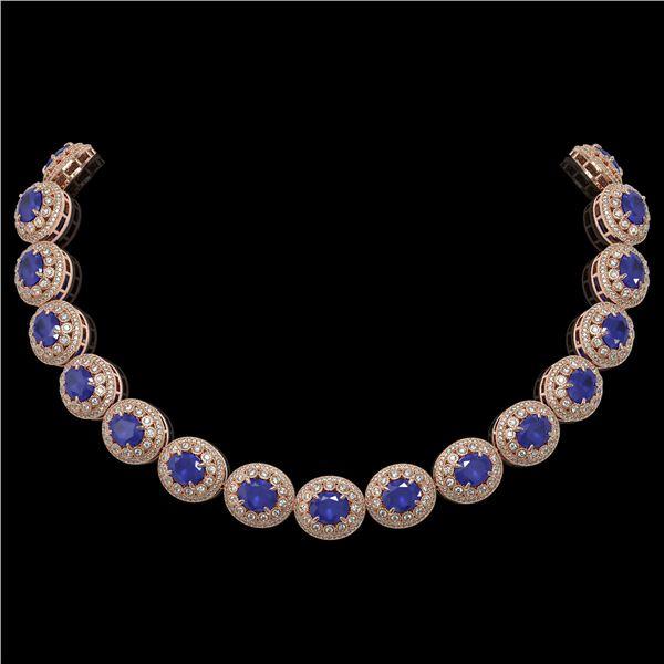 111.75 ctw Sapphire & Diamond Victorian Necklace 14K Rose Gold - REF-2935N8F