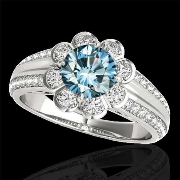 1.5 ctw SI Certified Fancy Blue Diamond Solitaire Halo Ring 10k White Gold - REF-128F8M