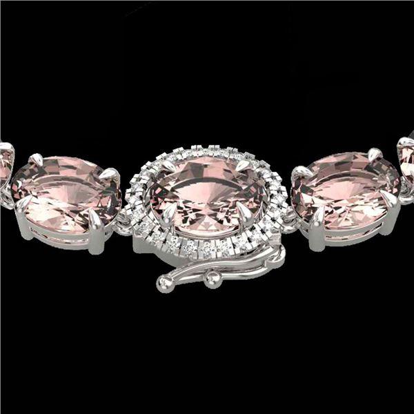 64 ctw Morganite & VS/SI Diamond Micro Necklace 14k White Gold - REF-637X3A