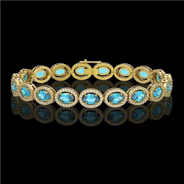 14.82 ctw Swiss Topaz & Diamond Micro Pave Halo Bracelet 10k Yellow Gold - REF-263N6F