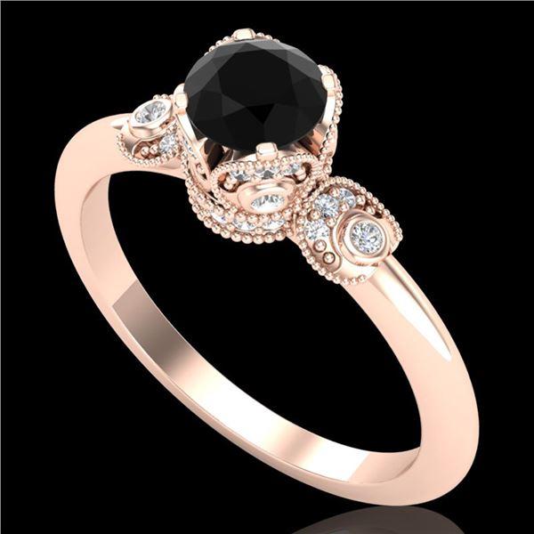 1 ctw Fancy Black Diamond Engagment Art Deco Ring 18k Rose Gold - REF-80R2K