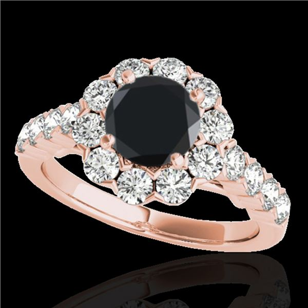 3 ctw Certified VS Black Diamond Solitaire Halo Ring 10k Rose Gold - REF-103X6A
