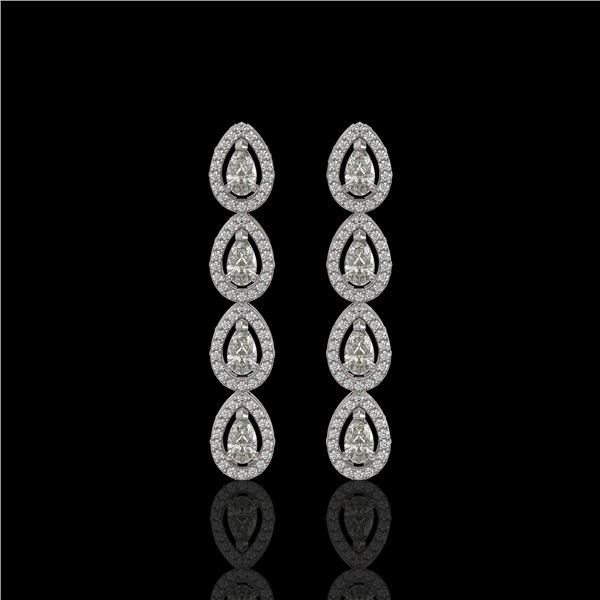 3.84 ctw Pear Cut Diamond Micro Pave Earrings 18K White Gold - REF-334W6H