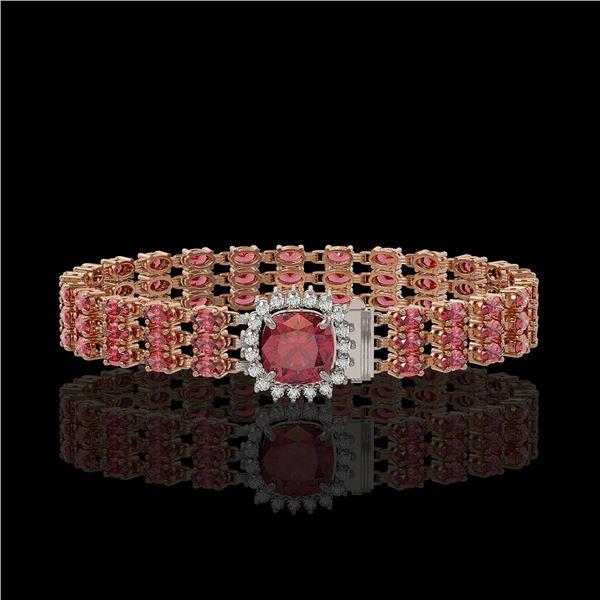 28.56 ctw Tourmaline & Diamond Bracelet 14K Rose Gold - REF-414H2R