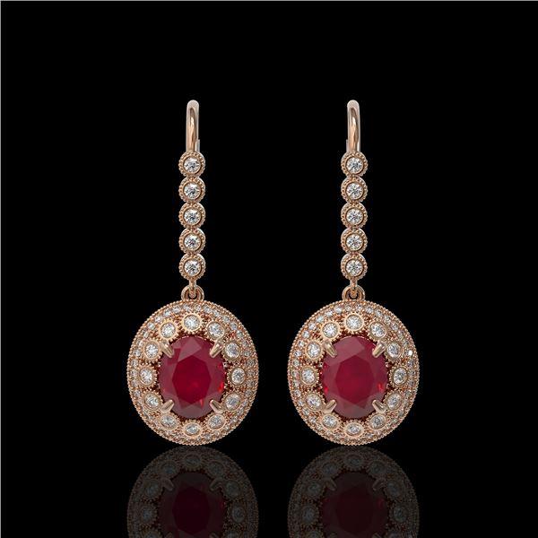 9.25 ctw Certified Ruby & Diamond Victorian Earrings 14K Rose Gold - REF-249G6W