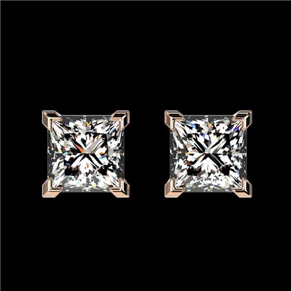 1 ctw Certified VS/SI Quality Princess Diamond Stud Earrings 10k Rose Gold - REF-120A3N