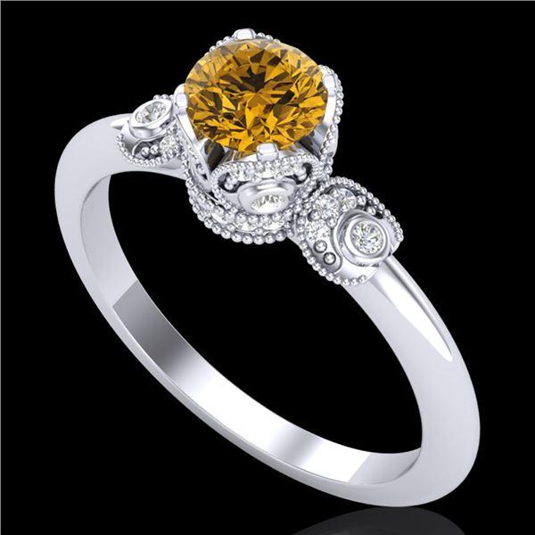 1 ctw Intense Fancy Yellow Diamond Art Deco Ring 18k White Gold - REF-134K5Y