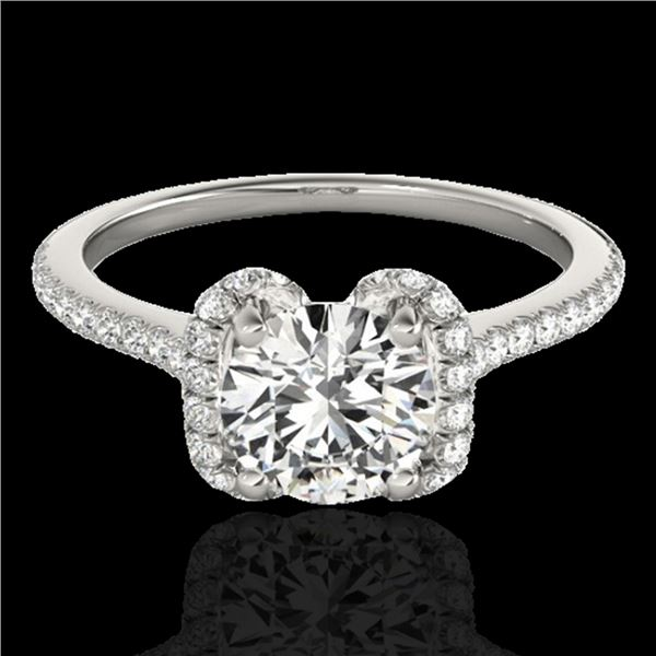 1.33 ctw Certified Diamond Solitaire Halo Ring 10k White Gold - REF-190A9N