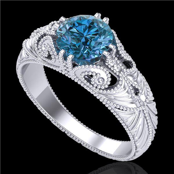 1 ctw Intense Blue Diamond Engagment Art Deco Ring 18k White Gold - REF-180A2N