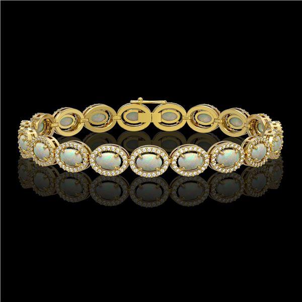 9.5 ctw Opal & Diamond Micro Pave Halo Bracelet 10k Yellow Gold - REF-251A8N
